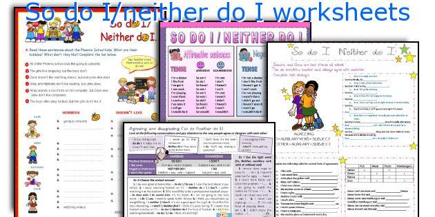 So do I/neither do I worksheets