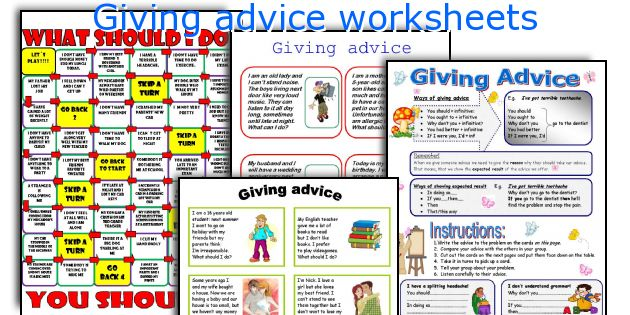 Giving advice worksheets