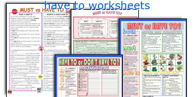 have to worksheets