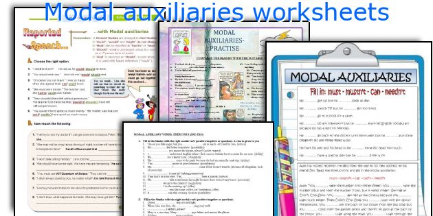 Modal auxiliaries worksheets