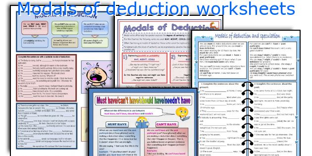 Modals of deduction worksheets