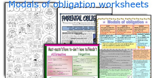 Modals of obligation worksheets