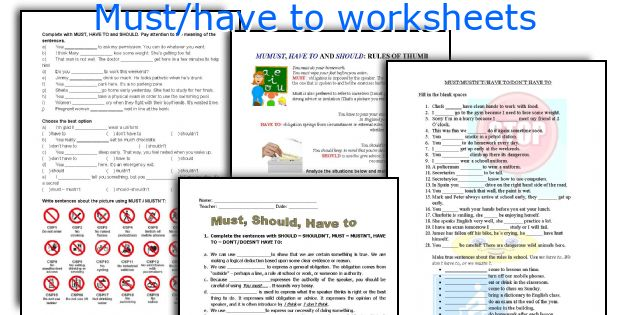 Must/have to worksheets