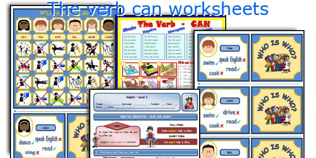 The verb can worksheets