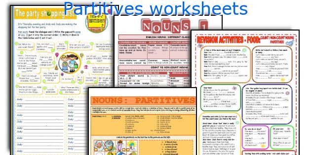 Partitives worksheets