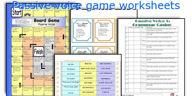 Passive Voice Game Worksheets