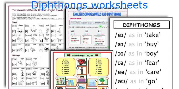 Number Names Worksheets phonetic alphabet worksheet : English teaching worksheets: Diphthongs