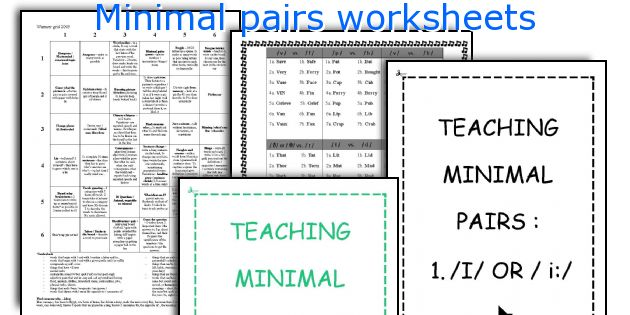 English Teaching Worksheets Minimal Pairs