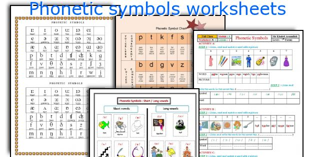 Phonetic symbols worksheets
