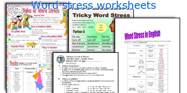 English teaching worksheets Word stress – Syllabication Worksheets