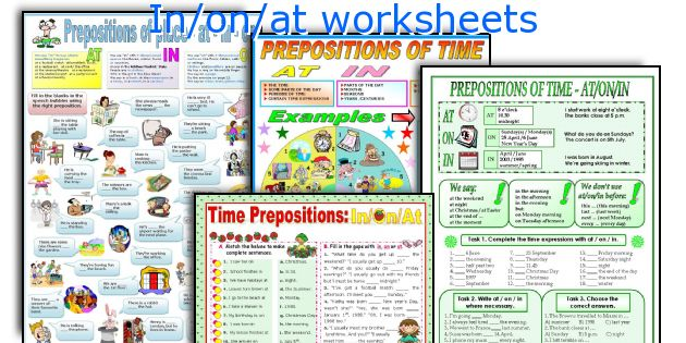 In/on/at worksheets