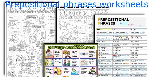 English teaching worksheets: Prepositional phrases