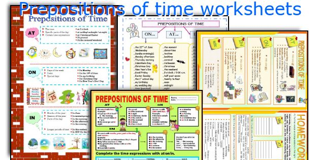 Prepositions of time worksheets