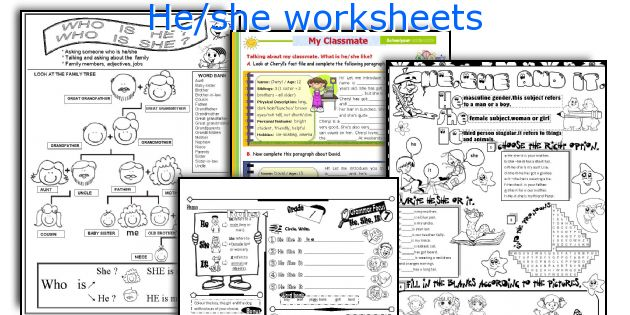 He/she worksheets
