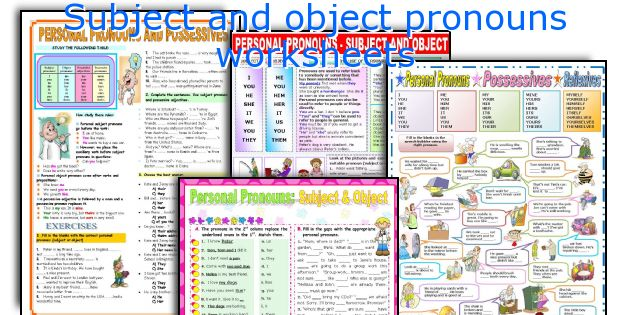 Subject and object pronouns worksheets