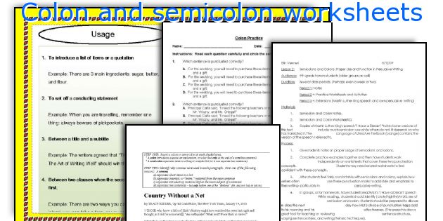 English teaching worksheets Colon and semicolon – Semicolon Practice Worksheets