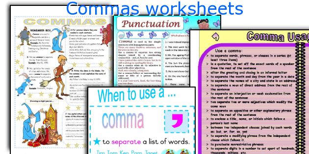 Comma exercises worksheets pdf