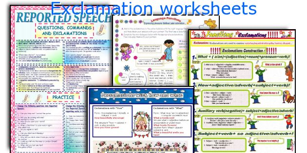 Exclamation worksheets