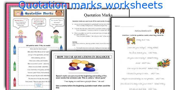 English teaching worksheets Quotation marks – Quotation Marks Worksheets