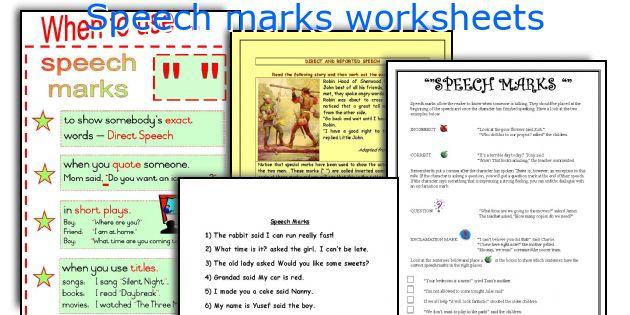 Speech marks worksheets