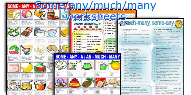 English Teaching Worksheets: Some/any/much/many