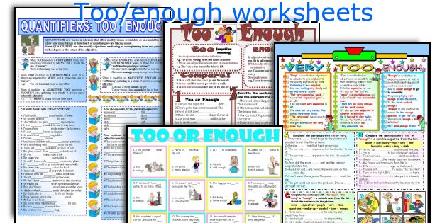 Too/enough worksheets