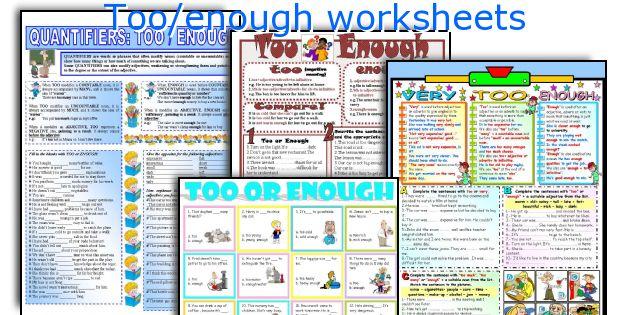 Too/enough worksheets