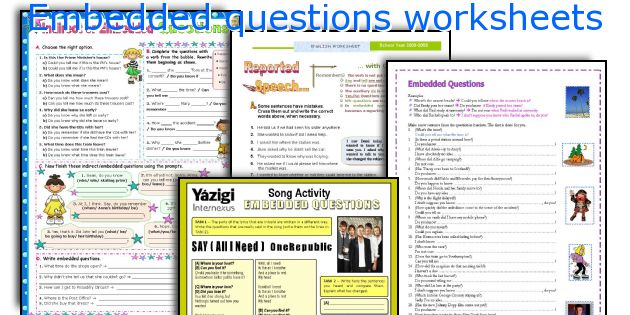 Embedded questions worksheets