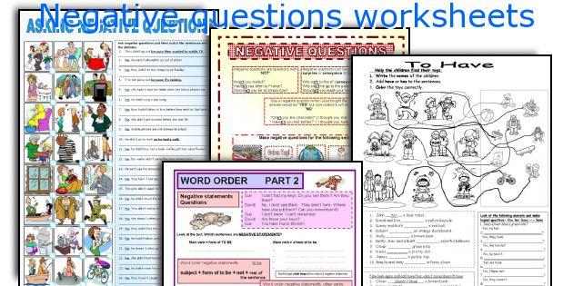 Negative questions worksheets