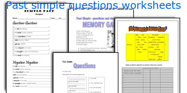 Past simple questions worksheets
