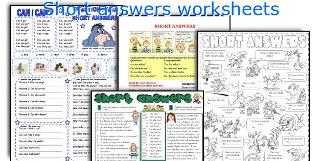 English teaching worksheets Short answers – Answers to Worksheets