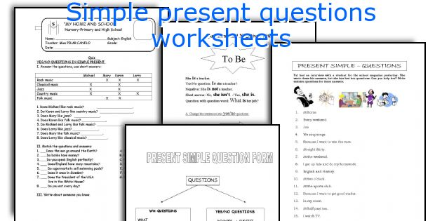 Simple present questions worksheets