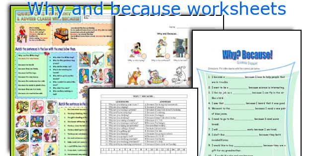 Why and because worksheets