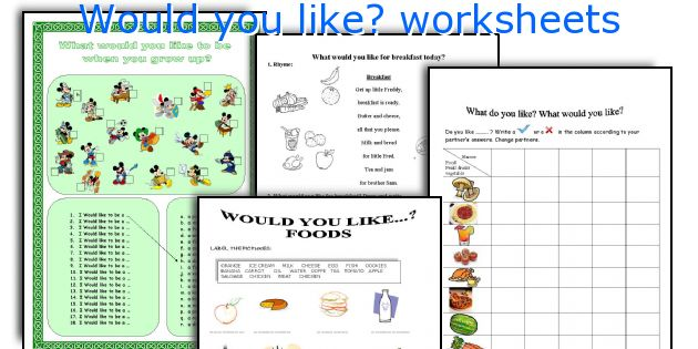 Would you like? worksheets
