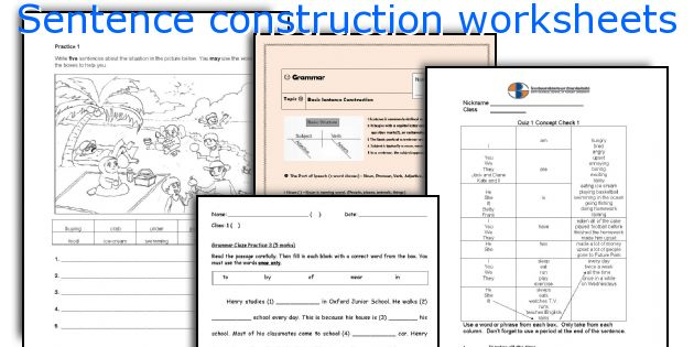 Sentence construction worksheets