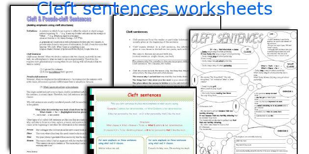 Cleft sentences worksheets
