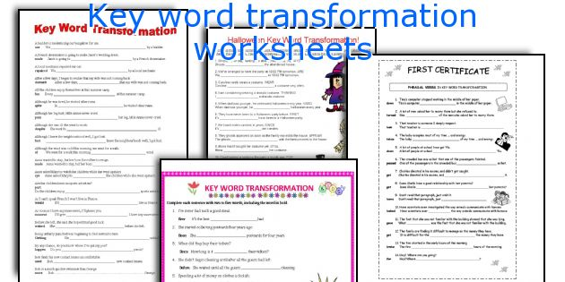 Key word transformation worksheets