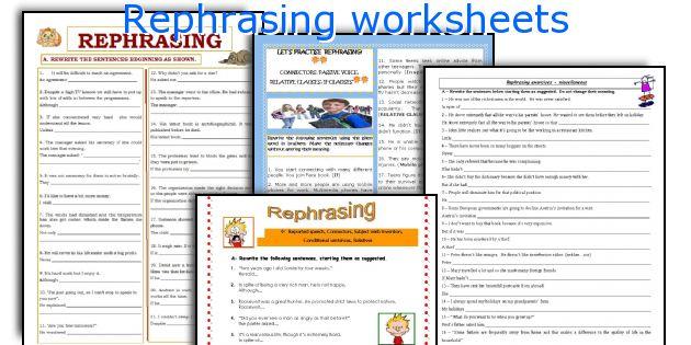 Rephrasing worksheets