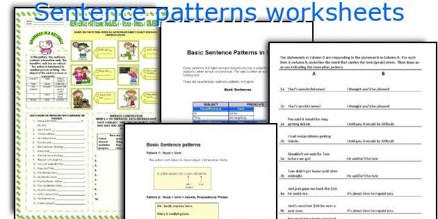 Sentence patterns worksheets
