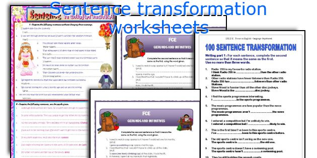 Sentence transformation worksheets