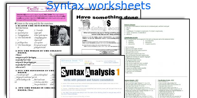 English teaching worksheets Syntax – Syntax Worksheets