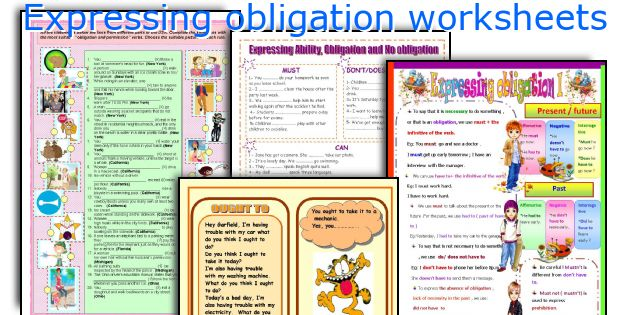 Expressing obligation worksheets