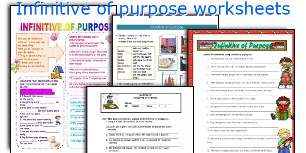 Infinitive of purpose worksheets