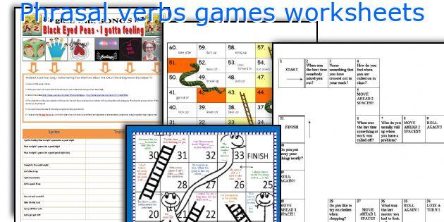 Phrasal verbs games worksheets