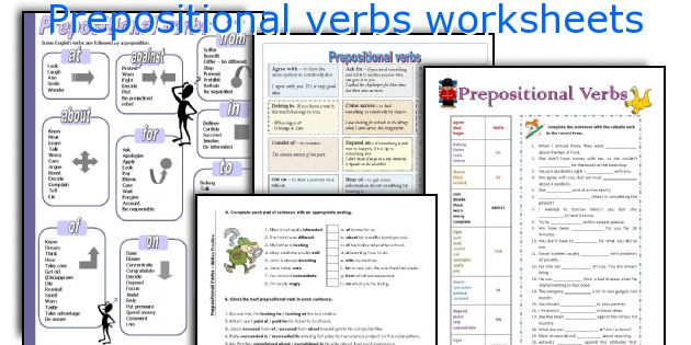 Preposition In Learn In Marathi All Complate: English Teaching Worksheets: Prepositional Verbs