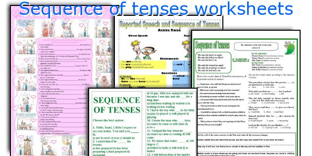 Sequence of tenses worksheets