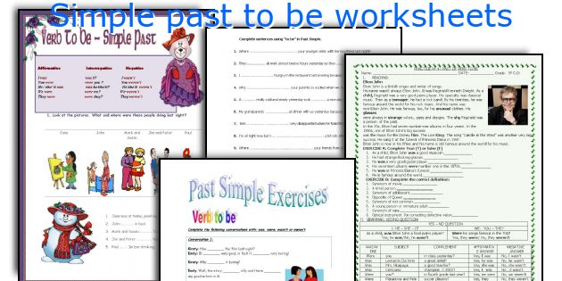 Simple past to be worksheets