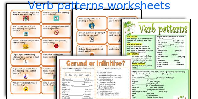 Verb patterns worksheets