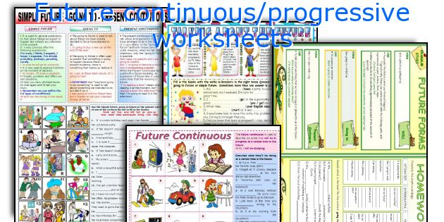 Future continuous/progressive worksheets