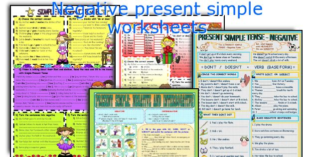 Negative present simple worksheets